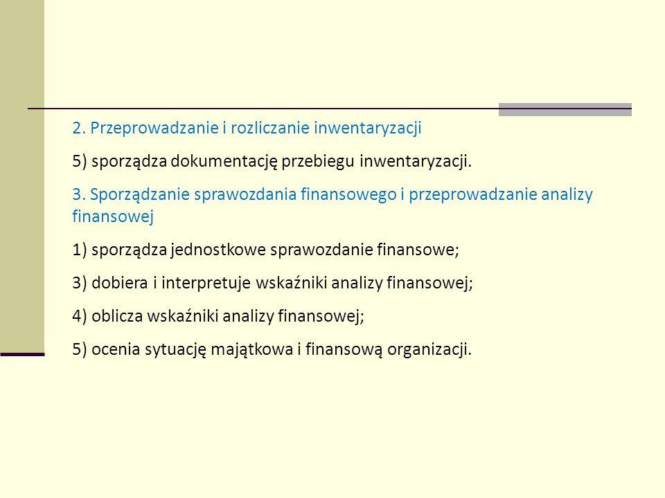2. Przeprowadzanie i rozliczanie inwentaryzacji 5) sporządza dokumentację przebiegu inwentaryzacji. 3. Sporządzanie sprawozdania finansowego i przepro