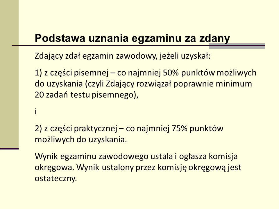 Podstawa uznania egzaminu za zdany Zdający zdał egzamin zawodowy, jeżeli uzyskał: 1) z części pisemnej – co najmniej 50% punktów możliwych do uzyskani