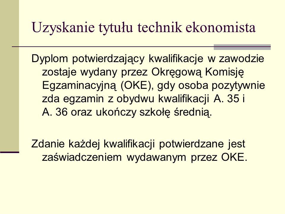 Uzyskanie tytułu technik ekonomista Dyplom potwierdzający kwalifikacje w zawodzie zostaje wydany przez Okręgową Komisję Egzaminacyjną (OKE), gdy osoba