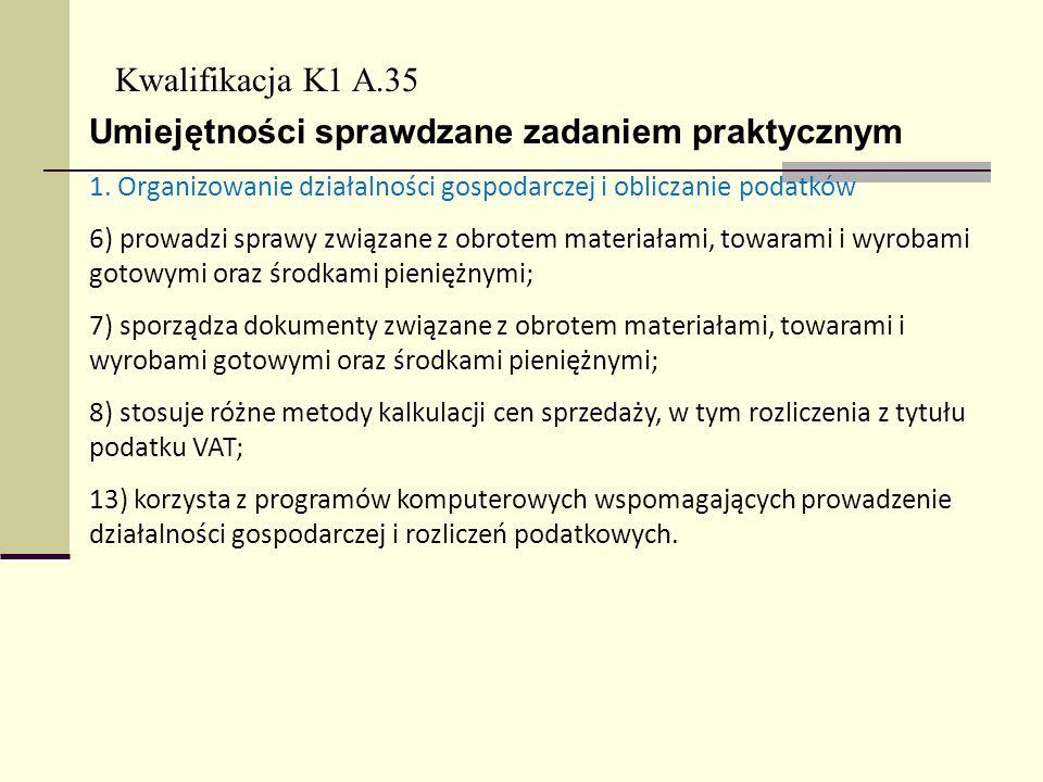 Kwalifikacja K1 A.35 Umiejętności sprawdzane zadaniem praktycznym 1. Organizowanie działalności gospodarczej i obliczanie podatków 6) prowadzi sprawy