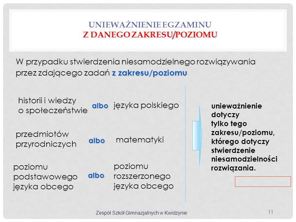 poziomu podstawowego języka obcego Z DANEGO ZAKRESU/POZIOMU UNIEWAŻNIENIE EGZAMINU Z DANEGO ZAKRESU/POZIOMU z zakresu/poziomu W przypadku stwierdzenia