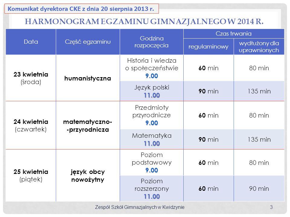 Zespół Szkół Gimnazjalnych w Kwidzynie 3 DataCzęść egzaminu Godzina rozpoczęcia Czas trwania regulaminowy wydłużony dla uprawnionych 23 kwietnia (środ