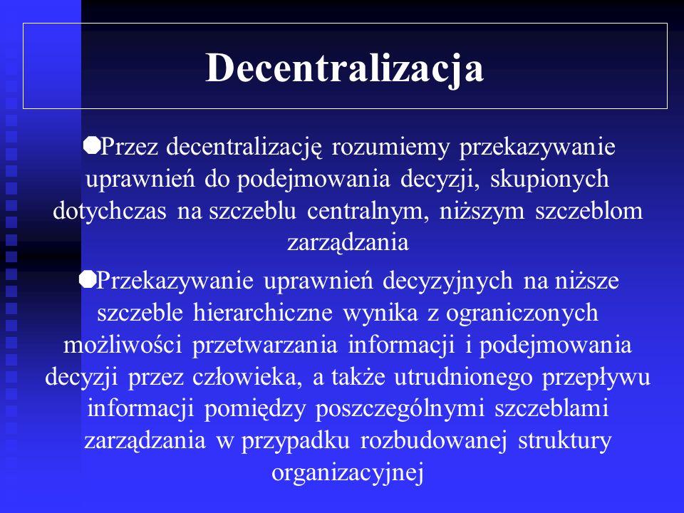 Dywizjonalizacja Swobodne działanie Pomiar dokonań Wynagradzanie dokonań Sposób kontroli w zdywizjonalizowanym przedsiębiorstwie