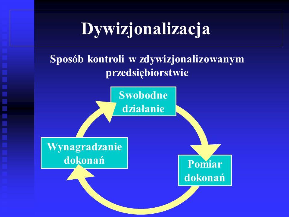 Dywizjonalizacja Kierownictwo nadrzędne sprawuje kontrolę nad wyodrębnionymi i autonomicznymi jednostkami za pomocą odpowiednio skonstruowanego systemu pomiaru i wynagradzania dokonań Miary dokonań powinny być tak skonstruowane, aby skłonić kierowników wyodrębnionych jednostek do działania zgodnego z celami całego przedsiębiorstwa Skutkiem ubocznym dywizjonalizacji jest często tzw.