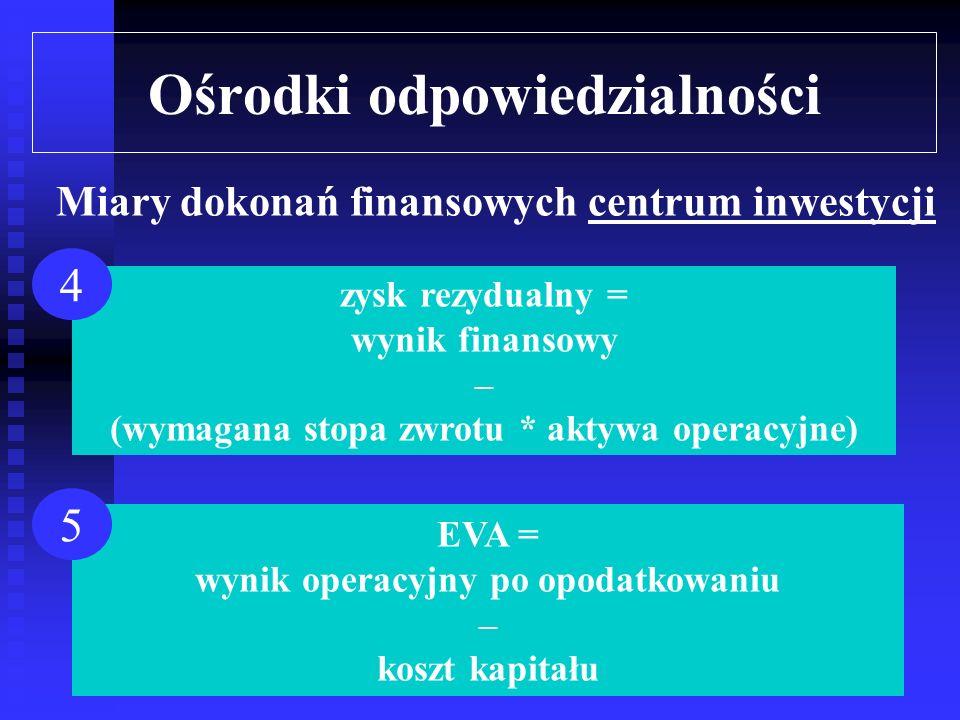 Ośrodki odpowiedzialności wynik finansowy = przychody – koszty przepływy pieniężne netto = wpływy - wydatki 1 2 Miary dokonań finansowych centrum inwestycji ROI = wynik finansowy / aktywa 3