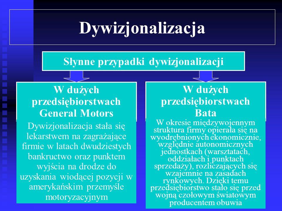 Dywizjonalizacja Dywizjonalizacja umożliwiła wielu przedsiębiorstwom dalszy rozwój poprzez realizację nowych strategii takich, jak integracja pionowa lub dywersyfikacja, często w połączeniu z ekspansją terytorialną Praktyka potwierdza, że możliwość realizacji pewnych strategii rozwoju (ekspansji terytorialnej, a szczególnie dywersyfikacji) uzależniona jest wręcz od jednoczesnych procesów decentralizacji i dywizjonalizacji Alfred Chanlder sugeruje, że właśnie rozwój poprzez dywersyfikację, w powiązaniu z decentralizacją i dywizjonalizacją, stał się motorem napędowym gospodarki amerykańskiej