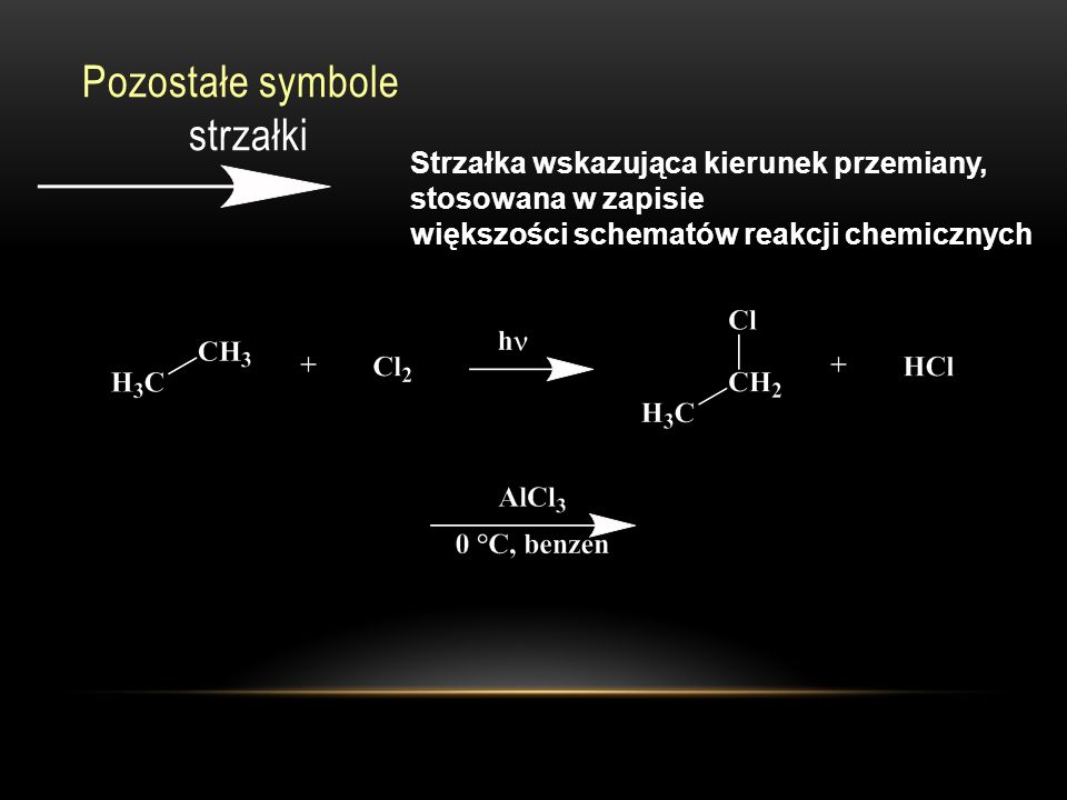 Pozostałe symbole strzałki Strzałka wskazująca kierunek przemiany, stosowana w zapisie większości schematów reakcji chemicznych