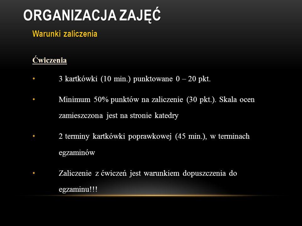 Warunki zaliczenia Ćwiczenia 3 kartkówki (10 min.) punktowane 0 – 20 pkt.