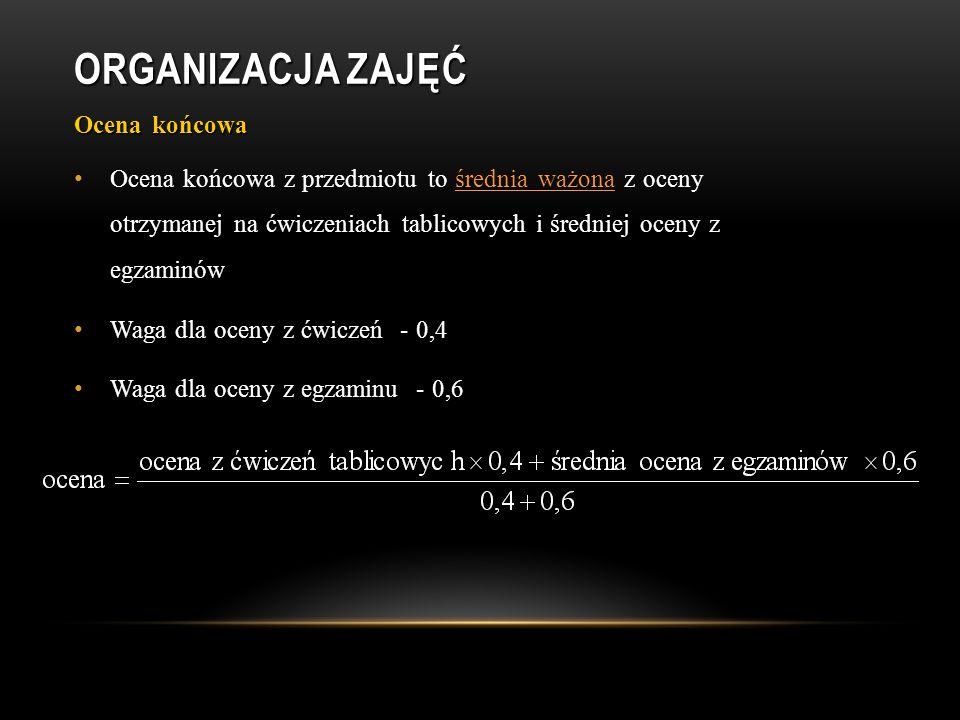 ORGANIZACJA ZAJĘĆ Literatura Francis A.Carey; Organic Chemistry 4 th Ed.