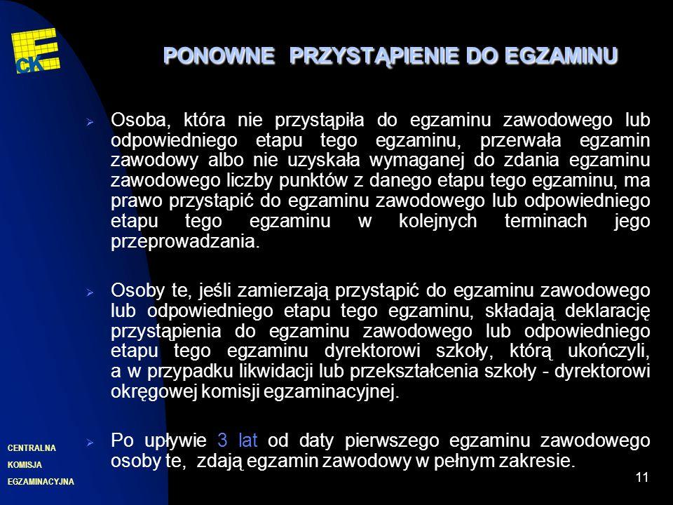 EGZAMINACYJNA CENTRALNA KOMISJA 11 PONOWNEPRZYSTĄPIENIE DO EGZAMINU PONOWNE PRZYSTĄPIENIE DO EGZAMINU Osoba, która nie przystąpiła do egzaminu zawodow