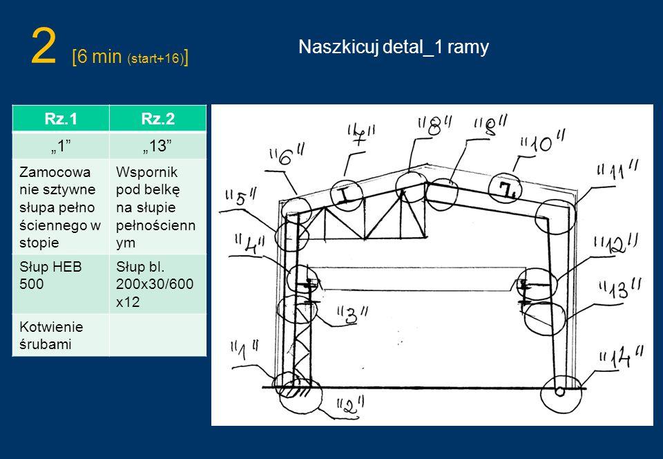 2 [6 min (start+16) ] Naszkicuj detal_1 ramy Rz.1Rz.2 113 Zamocowa nie sztywne słupa pełno ściennego w stopie Wspornik pod belkę na słupie pełnościenn