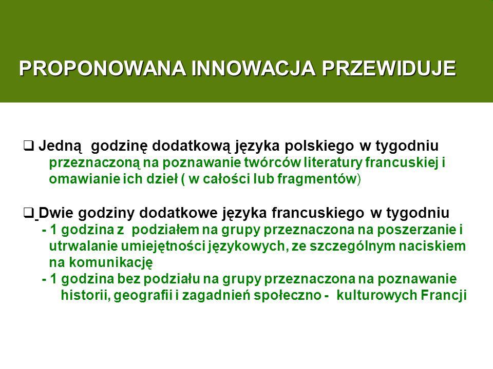 PROPONOWANA INNOWACJA PRZEWIDUJE Jedną godzinę dodatkową języka polskiego w tygodniu przeznaczoną na poznawanie twórców literatury francuskiej i omawianie ich dzieł ( w całości lub fragmentów) Dwie godziny dodatkowe języka francuskiego w tygodniu - 1 godzina z podziałem na grupy przeznaczona na poszerzanie i utrwalanie umiejętności językowych, ze szczególnym naciskiem na komunikację - 1 godzina bez podziału na grupy przeznaczona na poznawanie historii, geografii i zagadnień społeczno - kulturowych Francji