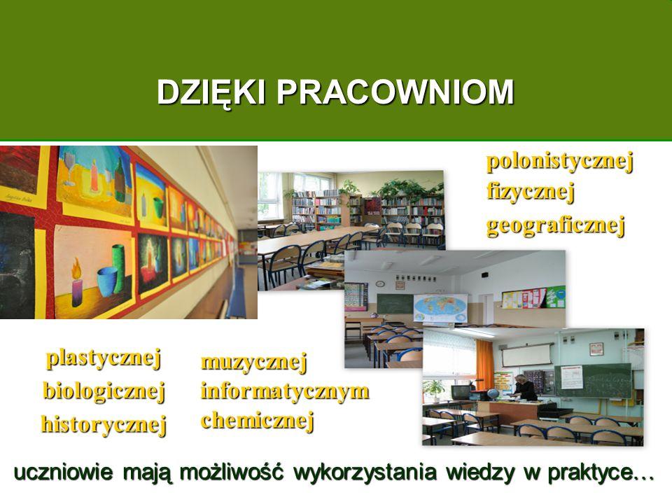 plastycznej biologicznej historycznej DZIĘKI PRACOWNIOM polonistycznej fizycznej geograficznej uczniowie mają możliwość wykorzystania wiedzy w praktyce… uczniowie mają możliwość wykorzystania wiedzy w praktyce… muzycznej informatycznym chemicznej