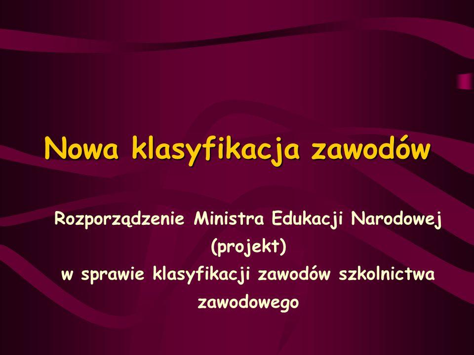 Nowa klasyfikacja zawodów Rozporządzenie Ministra Edukacji Narodowej (projekt) w sprawie klasyfikacji zawodów szkolnictwa zawodowego