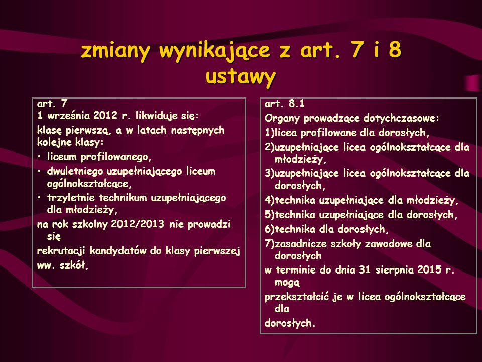 zmiany wynikające z art. 7 i 8 ustawy art. 7 1 września 2012 r. likwiduje się: klasę pierwszą, a w latach następnych kolejne klasy: liceum profilowane