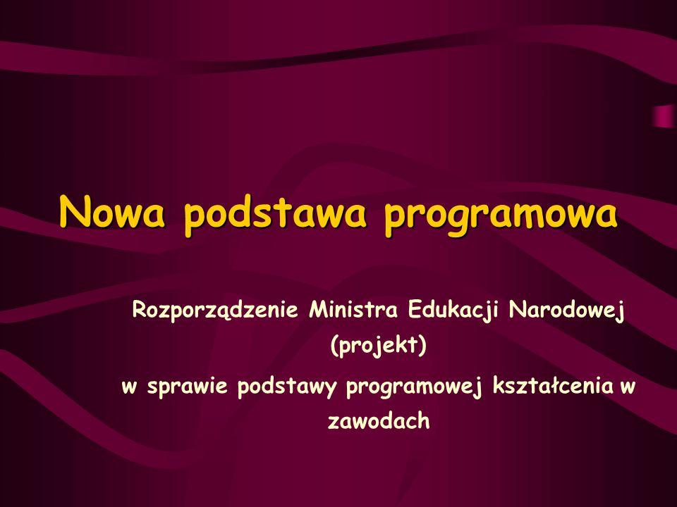 Nowa podstawa programowa Rozporządzenie Ministra Edukacji Narodowej (projekt) w sprawie podstawy programowej kształcenia w zawodach