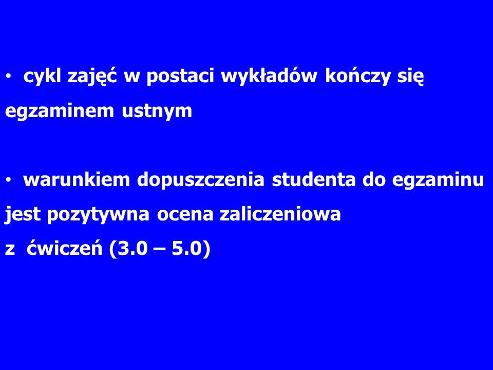 Na ocenę zaliczeniową składa się aktywność i udział studenta w zajęciach ćwiczeniowych czyli: punkty za obecność na ćwiczeniach (3 punkty za każdą obecność x 13 spotkań ćwiczeniowych = maksymalnie 39 punktów za obecności) punkty za aktywność indywidualną (w 1 części każdych ćwiczeń - od 1 do 5 punktów) i aktywność grupową (w 2 części każdych ćwiczeń – maksymalnie dwa punkty).