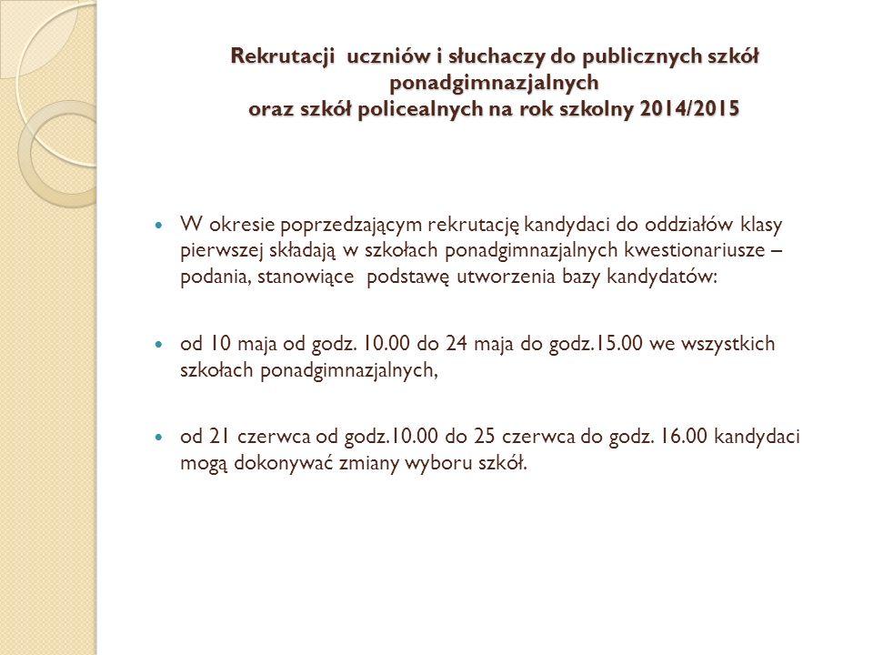 Rekrutacji uczniów i słuchaczy do publicznych szkół ponadgimnazjalnych oraz szkół policealnych na rok szkolny 2014/2015 W okresie poprzedzającym rekru