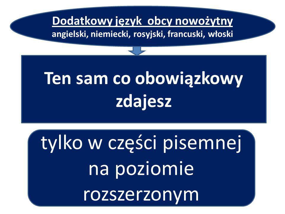 y Dodatkowy język obcy nowożytny angielski, niemiecki, rosyjski, francuski, włoski Ten sam co obowiązkowy zdajesz tylko w części pisemnej na poziomie rozszerzonym