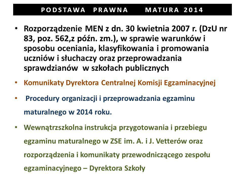 PODSTAWA PRAWNA MATURA 2014 Rozporządzenie MEN z dn.