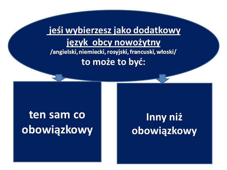 y jeśi wybierzesz jako dodatkowy język obcy nowożytny /angielski, niemiecki, rosyjski, francuski, włoski/ to może to być: ten sam co obowiązkowy Inny niż obowiązkowy
