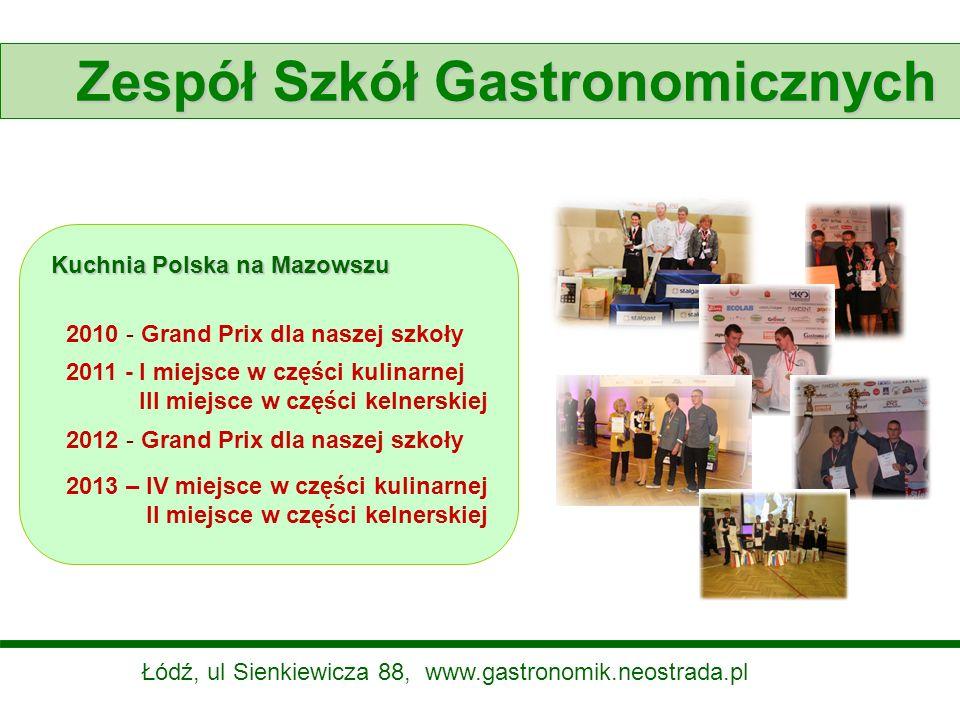 Zespół Szkół Gastronomicznych Kuchnia Polska na Mazowszu 2010 - Grand Prix dla naszej szkoły 2012 - Grand Prix dla naszej szkoły 2011 - I miejsce w cz