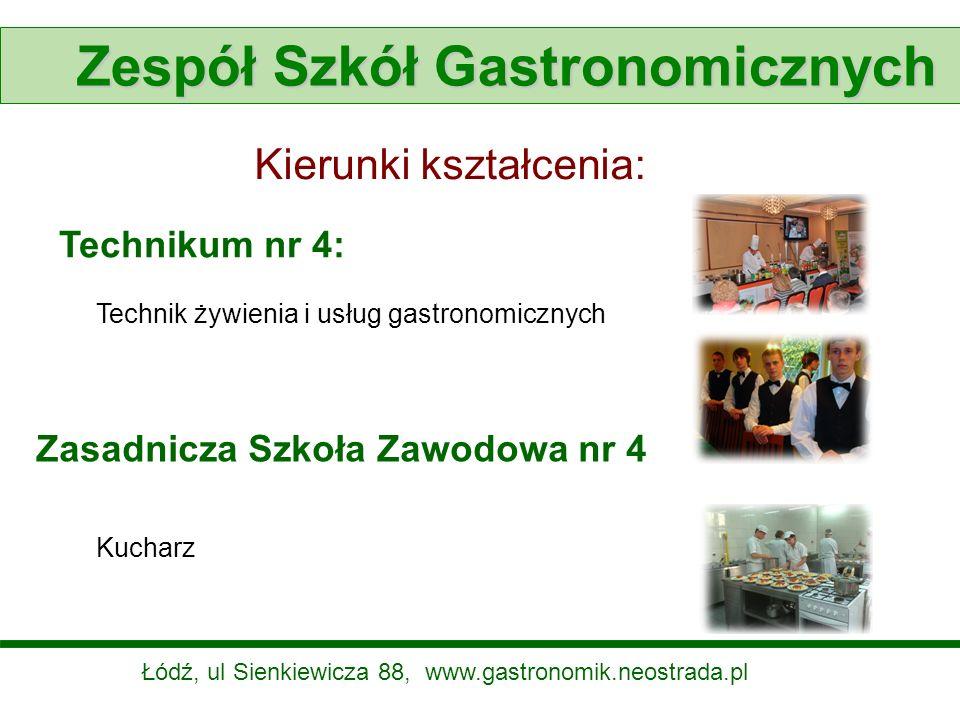 Zespół Szkół Gastronomicznych Kierunki kształcenia: Technikum nr 4: Technik żywienia i usług gastronomicznych Zasadnicza Szkoła Zawodowa nr 4 Kucharz