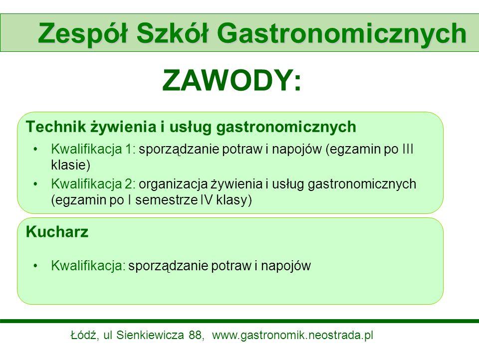 ZAWODY: Technik żywienia i usług gastronomicznych Kwalifikacja 1: sporządzanie potraw i napojów (egzamin po III klasie) Kwalifikacja 2: organizacja ży