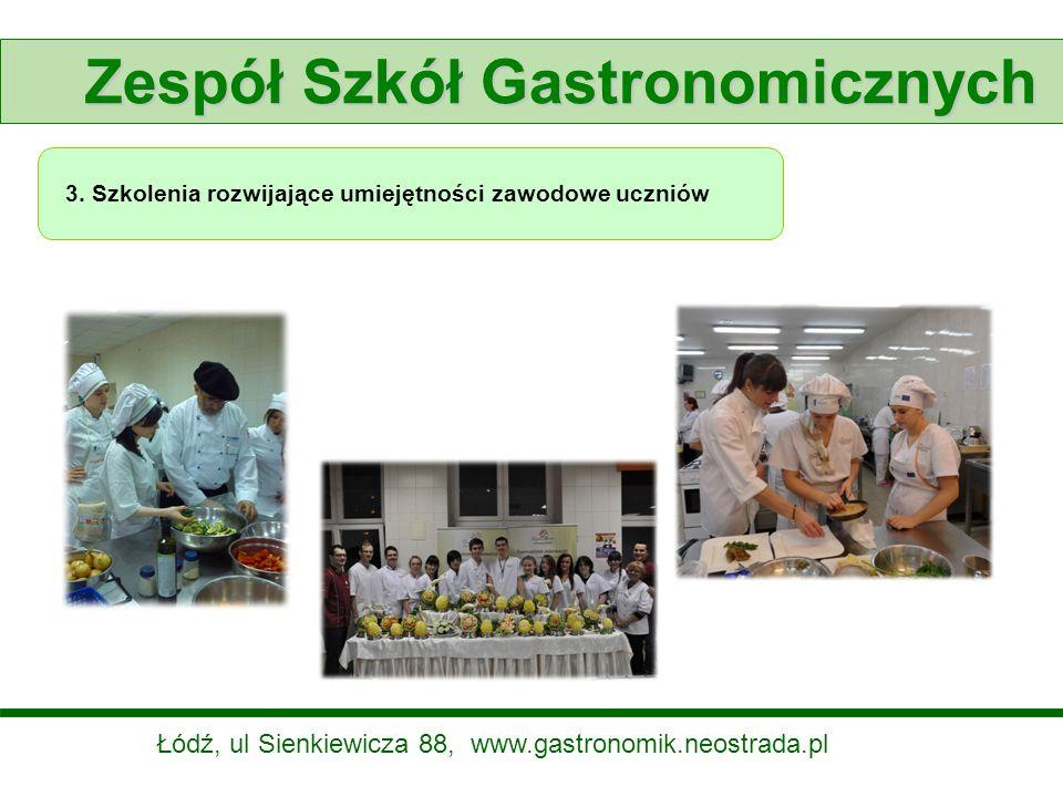 Zespół Szkół Gastronomicznych 3. Szkolenia rozwijające umiejętności zawodowe uczniów Łódź, ul Sienkiewicza 88, www.gastronomik.neostrada.pl
