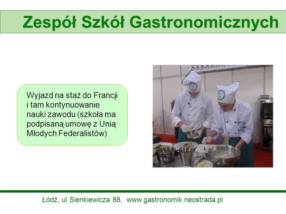Zespół Szkół Gastronomicznych Wyjazd na staż do Francji i tam kontynuowanie nauki zawodu (szkoła ma podpisaną umowę z Unią Młodych Federalistów) Łódź,
