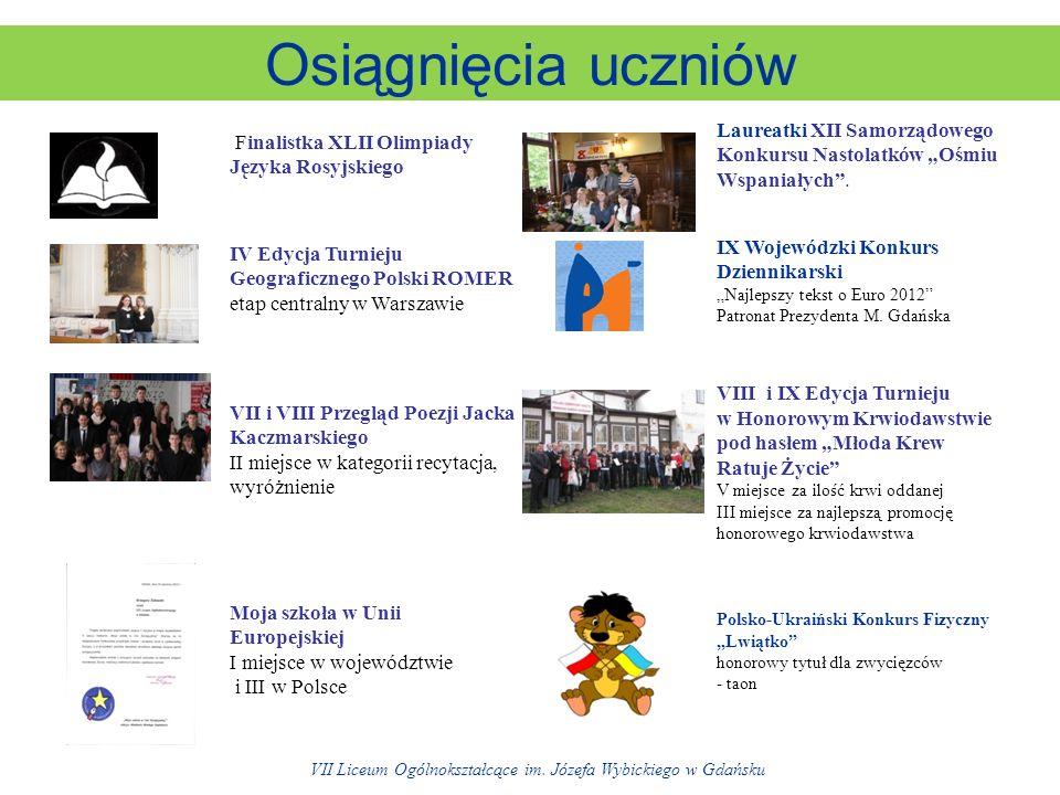 Osiągnięcia uczniów Finalistka XLII Olimpiady Języka Rosyjskiego Laureatki XII Samorządowego Konkursu Nastolatków Ośmiu Wspaniałych.