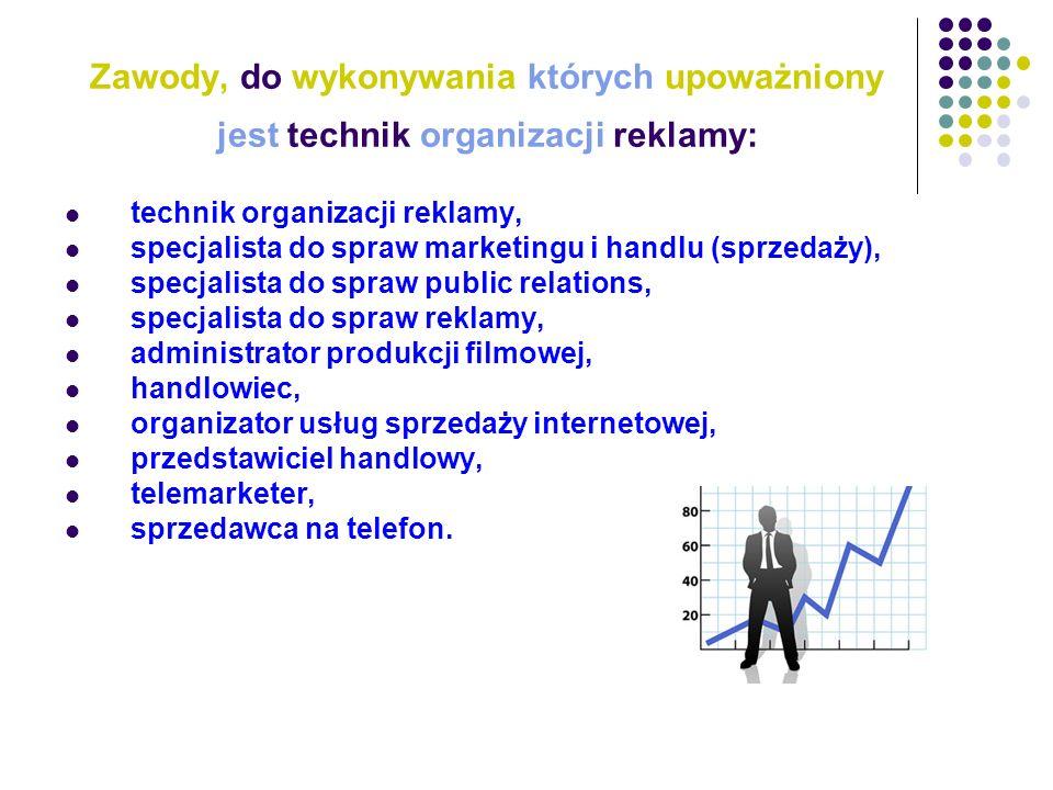 Zawody, do wykonywania których upoważniony jest technik organizacji reklamy: technik organizacji reklamy, specjalista do spraw marketingu i handlu (sp