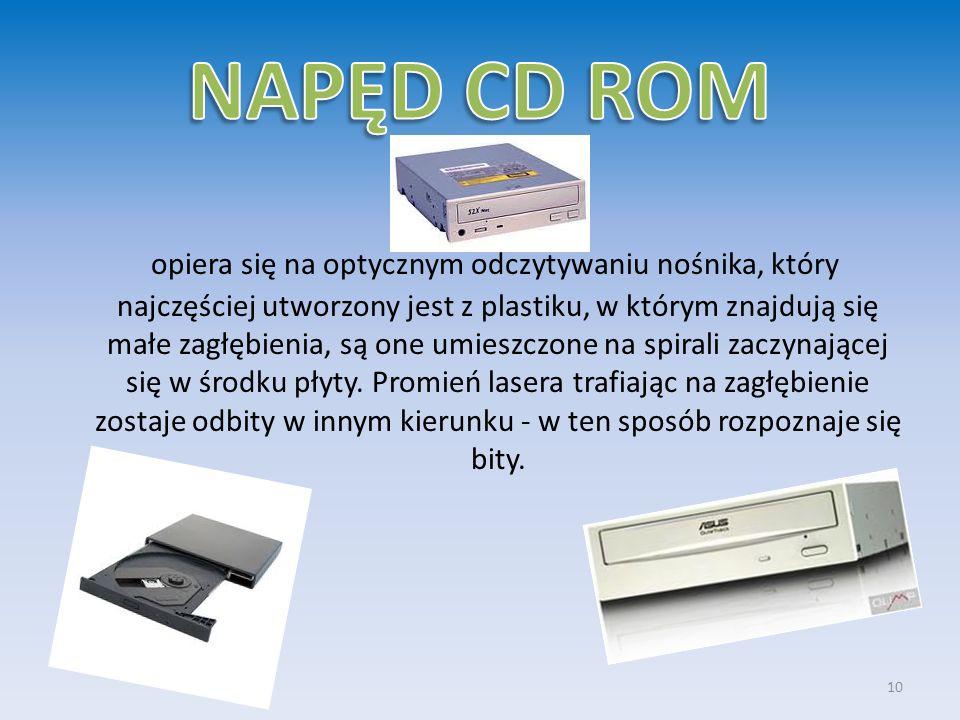 opiera się na optycznym odczytywaniu nośnika, który najczęściej utworzony jest z plastiku, w którym znajdują się małe zagłębienia, są one umieszczone
