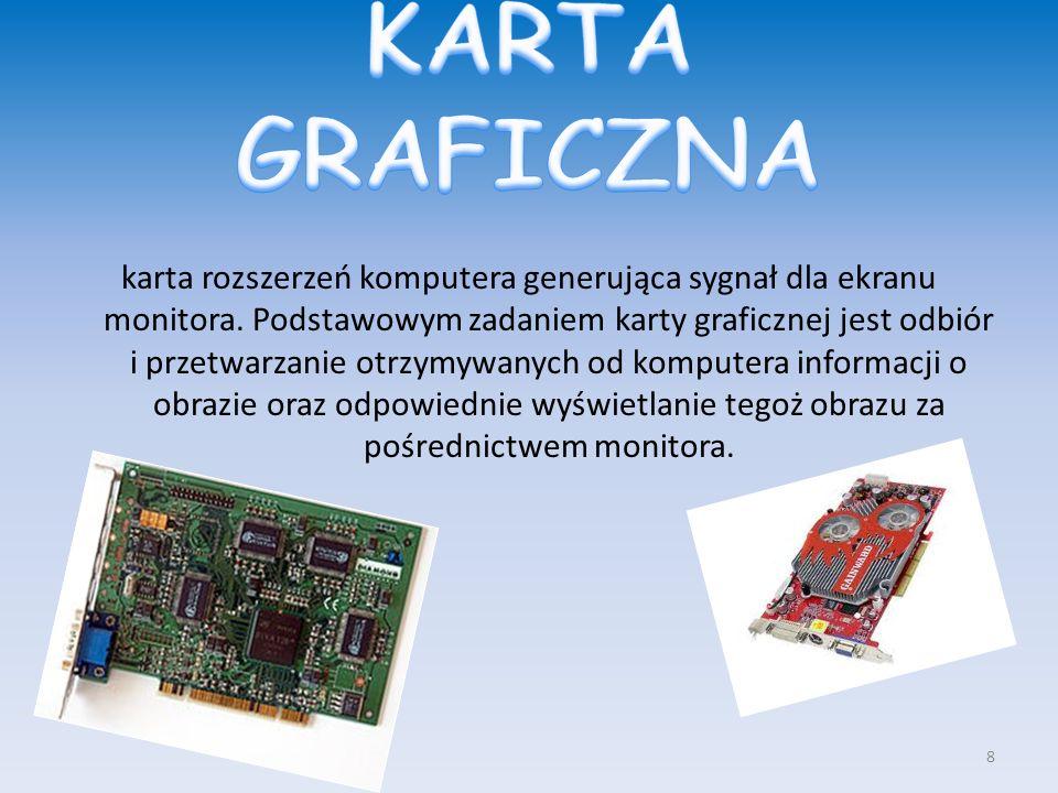 karta rozszerzeń komputera generująca sygnał dla ekranu monitora. Podstawowym zadaniem karty graficznej jest odbiór i przetwarzanie otrzymywanych od k