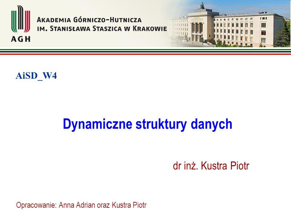 Dynamiczne struktury danych dr inż. Kustra Piotr AiSD_W4 Opracowanie: Anna Adrian oraz Kustra Piotr