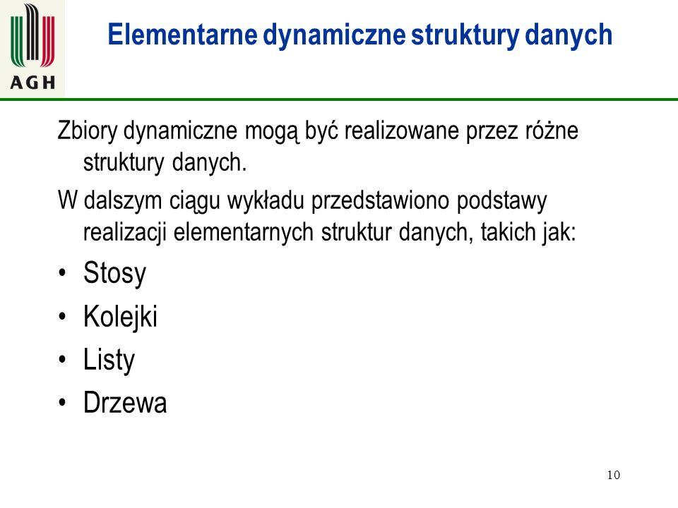 10 Elementarne dynamiczne struktury danych Zbiory dynamiczne mogą być realizowane przez różne struktury danych. W dalszym ciągu wykładu przedstawiono