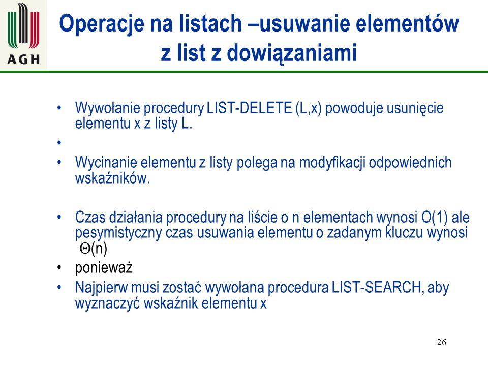26 Operacje na listach –usuwanie elementów z list z dowiązaniami Wywołanie procedury LIST-DELETE (L,x) powoduje usunięcie elementu x z listy L. Wycina