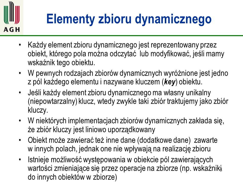 5 Elementy zbioru dynamicznego Każdy element zbioru dynamicznego jest reprezentowany przez obiekt, którego pola można odczytać lub modyfikować, jeśli