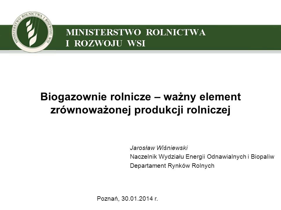 Biogazownie rolnicze – ważny element zrównoważonej produkcji rolniczej Jarosław Wiśniewski Naczelnik Wydziału Energii Odnawialnych i Biopaliw Departam