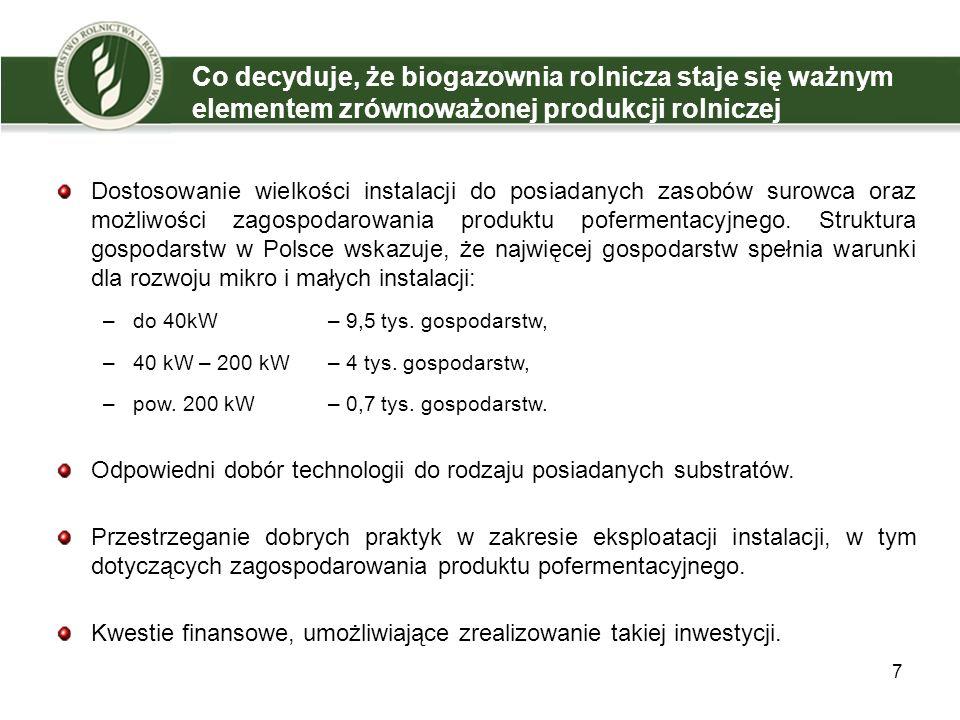 7 Co decyduje, że biogazownia rolnicza staje się ważnym elementem zrównoważonej produkcji rolniczej Dostosowanie wielkości instalacji do posiadanych z