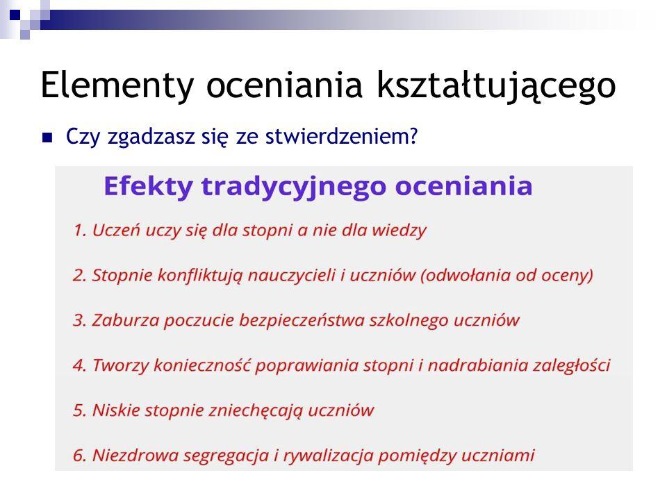 Elementy oceniania kształtującego Wybrane elementy oceniania kształtującego Wybrane elementy oceniania kształtującego
