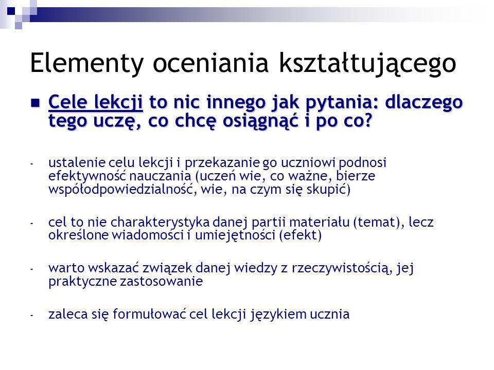 Elementy oceniania kształtującego Przykład: Temat: Kryzys demokracji w Europie Zachodniej.