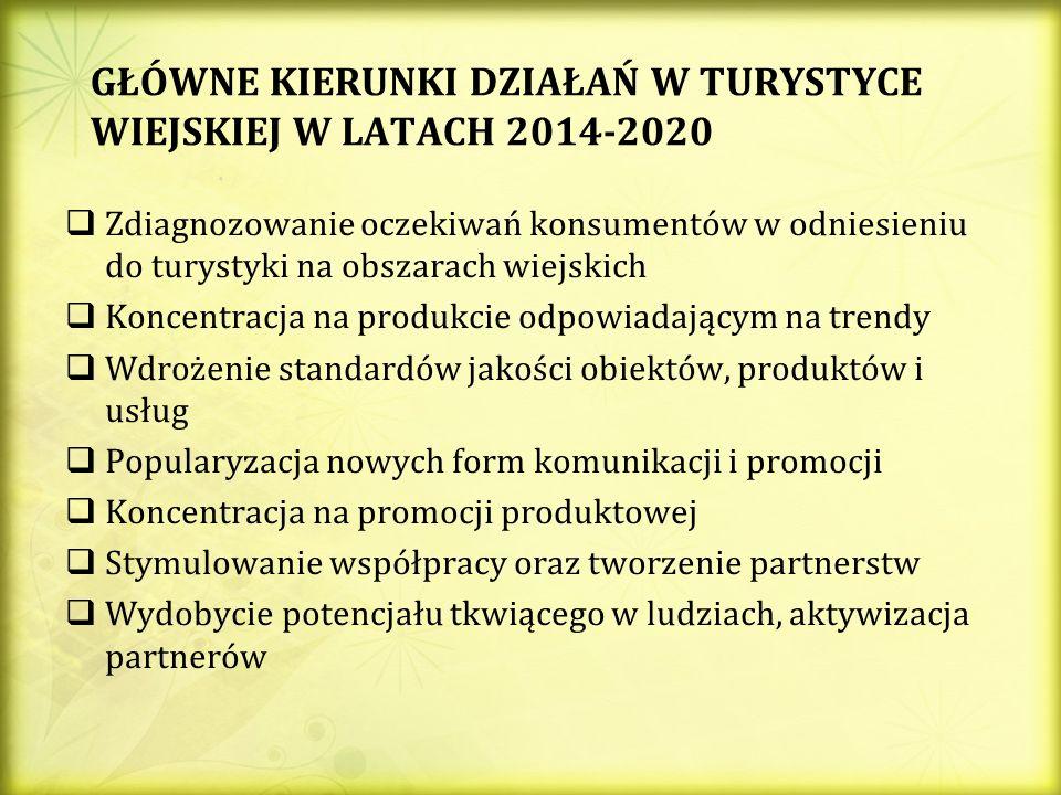 GŁÓWNE KIERUNKI DZIAŁAŃ W TURYSTYCE WIEJSKIEJ W LATACH 2014-2020 Zdiagnozowanie oczekiwań konsumentów w odniesieniu do turystyki na obszarach wiejskich Koncentracja na produkcie odpowiadającym na trendy Wdrożenie standardów jakości obiektów, produktów i usług Popularyzacja nowych form komunikacji i promocji Koncentracja na promocji produktowej Stymulowanie współpracy oraz tworzenie partnerstw Wydobycie potencjału tkwiącego w ludziach, aktywizacja partnerów