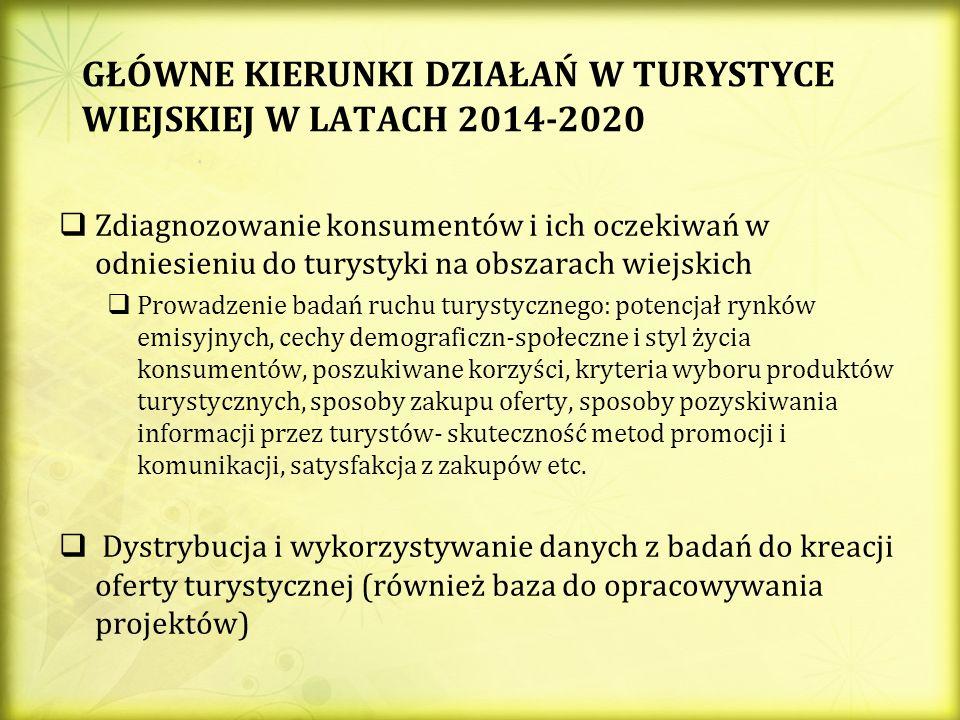 GŁÓWNE KIERUNKI DZIAŁAŃ W TURYSTYCE WIEJSKIEJ W LATACH 2014-2020 Zdiagnozowanie konsumentów i ich oczekiwań w odniesieniu do turystyki na obszarach wiejskich Prowadzenie badań ruchu turystycznego: potencjał rynków emisyjnych, cechy demograficzn-społeczne i styl życia konsumentów, poszukiwane korzyści, kryteria wyboru produktów turystycznych, sposoby zakupu oferty, sposoby pozyskiwania informacji przez turystów- skuteczność metod promocji i komunikacji, satysfakcja z zakupów etc.