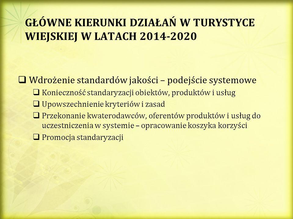GŁÓWNE KIERUNKI DZIAŁAŃ W TURYSTYCE WIEJSKIEJ W LATACH 2014-2020 Wdrożenie standardów jakości – podejście systemowe Konieczność standaryzacji obiektów, produktów i usług Upowszechnienie kryteriów i zasad Przekonanie kwaterodawców, oferentów produktów i usług do uczestniczenia w systemie – opracowanie koszyka korzyści Promocja standaryzacji