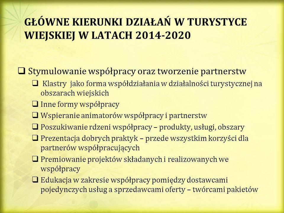 GŁÓWNE KIERUNKI DZIAŁAŃ W TURYSTYCE WIEJSKIEJ W LATACH 2014-2020 Stymulowanie współpracy oraz tworzenie partnerstw Klastry jako forma współdziałania w