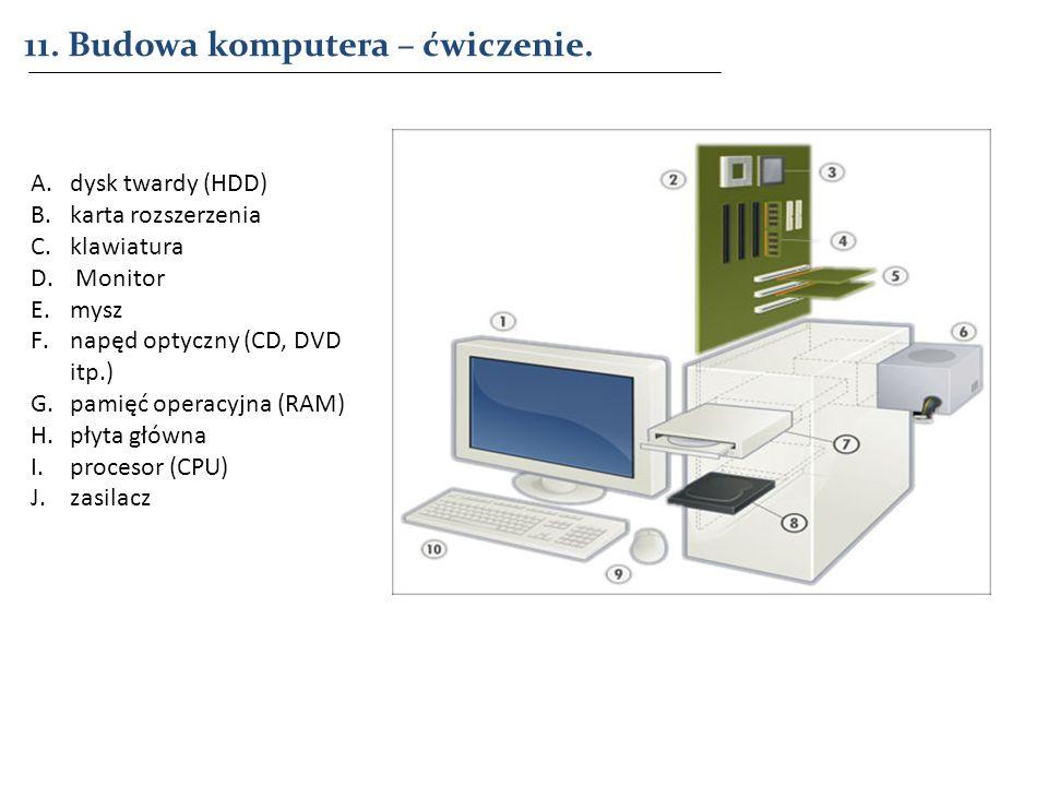 11. Budowa komputera – ćwiczenie. A.dysk twardy (HDD) B.karta rozszerzenia C.klawiatura D. Monitor E.mysz F.napęd optyczny (CD, DVD itp.) G.pamięć ope