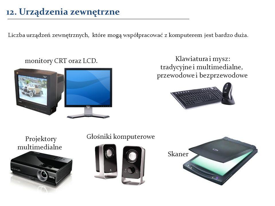 12. Urządzenia zewnętrzne Liczba urządzeń zewnętrznych, które mogą współpracować z komputerem jest bardzo duża. monitory CRT oraz LCD. Klawiatura i my
