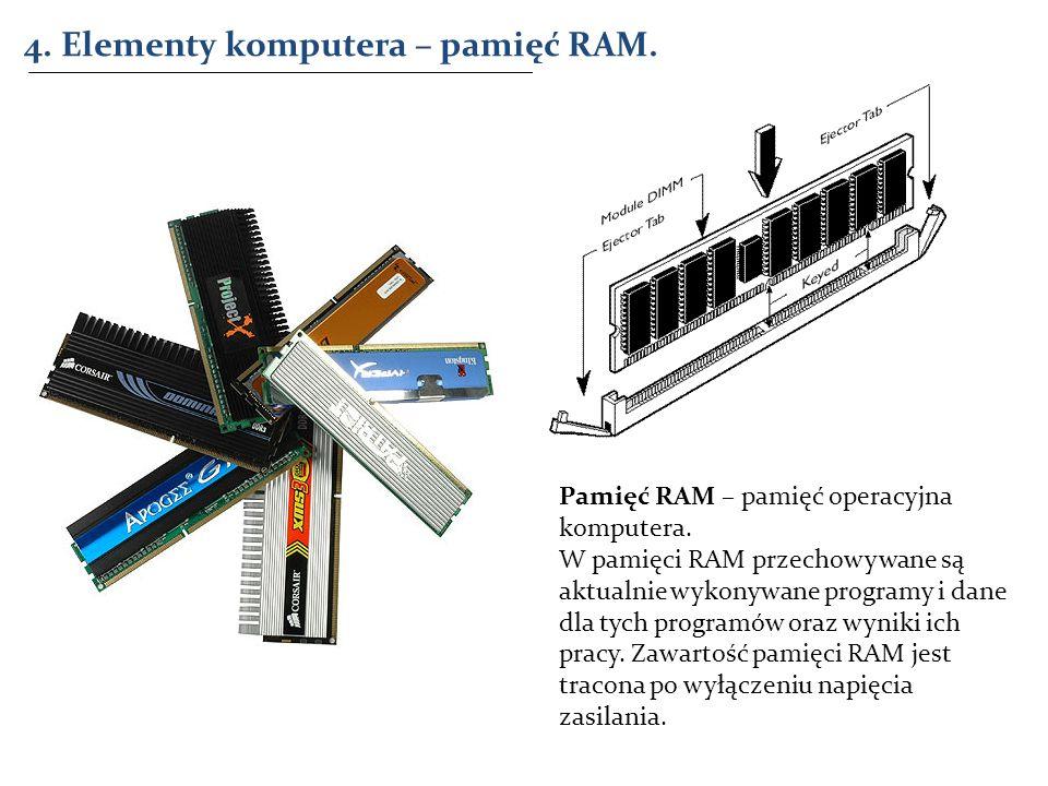 4. Elementy komputera – pamięć RAM. Pamięć RAM – pamięć operacyjna komputera. W pamięci RAM przechowywane są aktualnie wykonywane programy i dane dla
