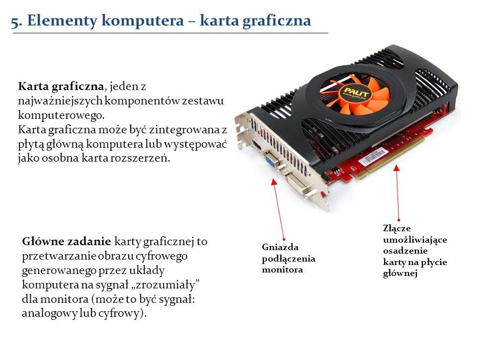 5. Elementy komputera – karta graficzna Złącze umożliwiające osadzenie karty na płycie głównej Gniazda podłączenia monitora Karta graficzna, jeden z n